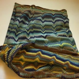 ZigZag Infinity Scarf In Aqua and Brown A3
